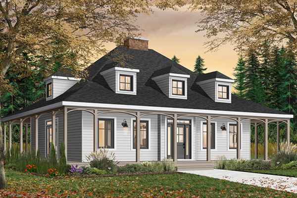 Roslyn hill colonial home plan 032d 0203 house plans and Creole cottage house plans