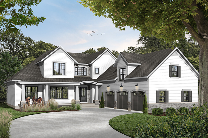 Luxury Arts & Crafts Home With Wide Porch And Pillars