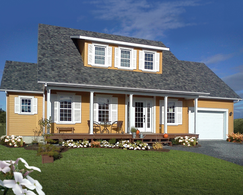 Country Home With Three-Windowed Dormer