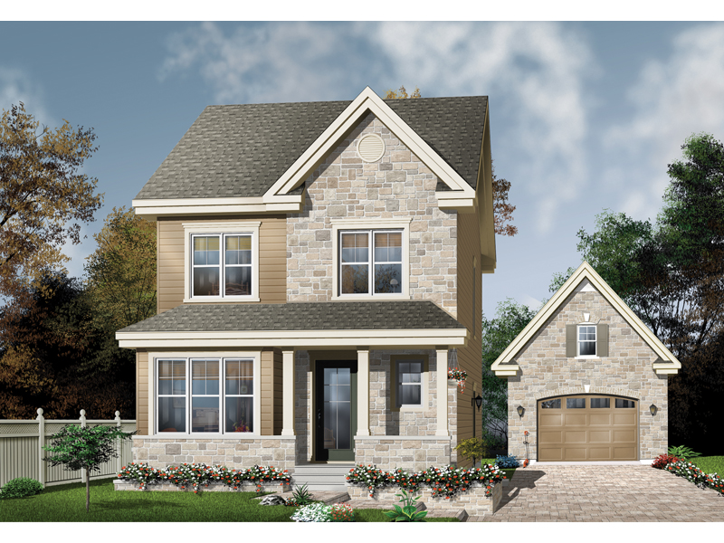 Country Style Two-Story Has Stone Exterior
