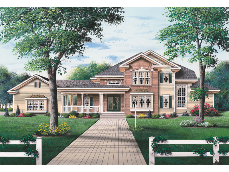 Sprawling Luxury Two-Story Country Home With Wrap-Around Porch