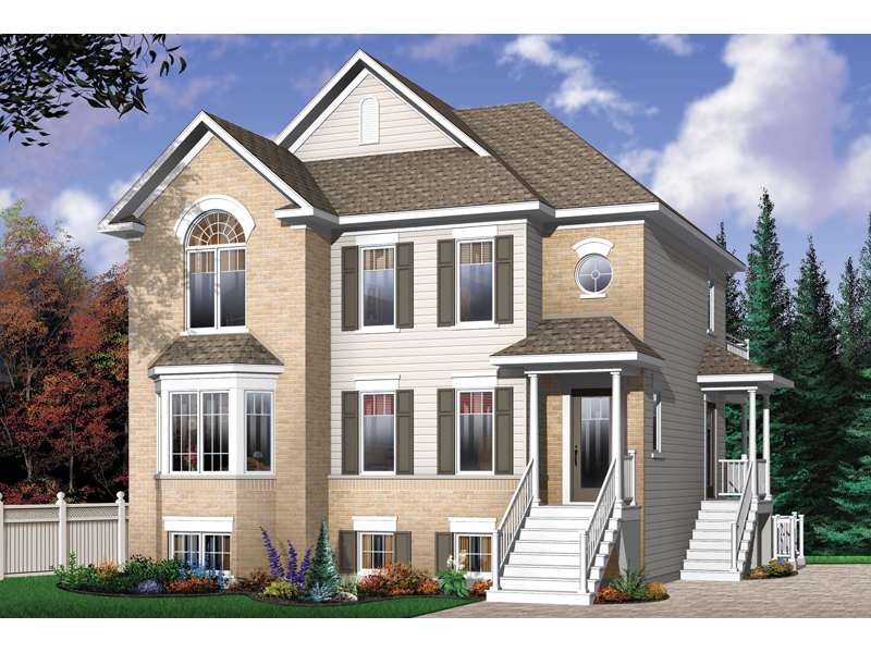 Geary place triplex townhouse plan 032d 0383 house plans for Multifamily house plans