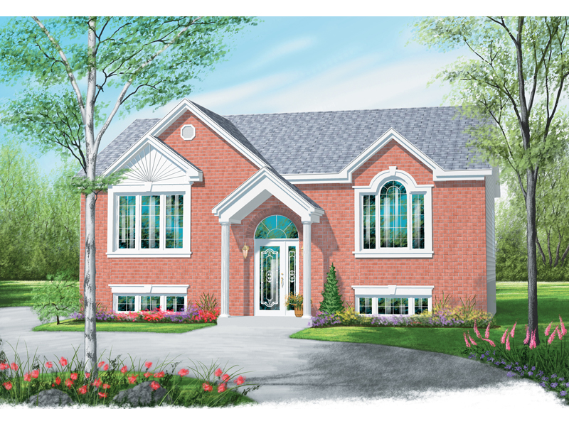 All Brick Split Level Home With Stylish Front Porch