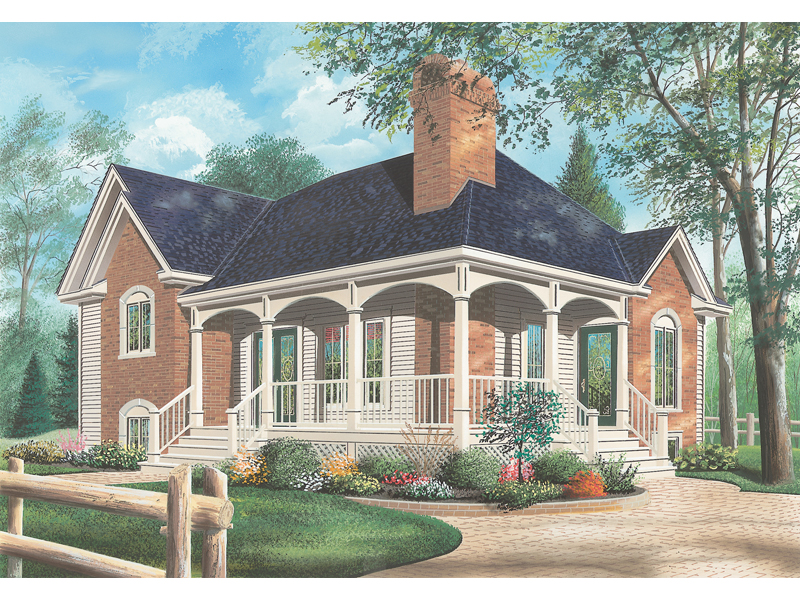 Ranch House Plan Front of Home - 032D-0413 | House Plans and More