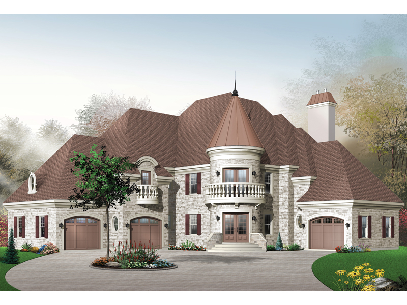 Parsons luxury european home plan 032d 0441 house plans for Home plans with turrets