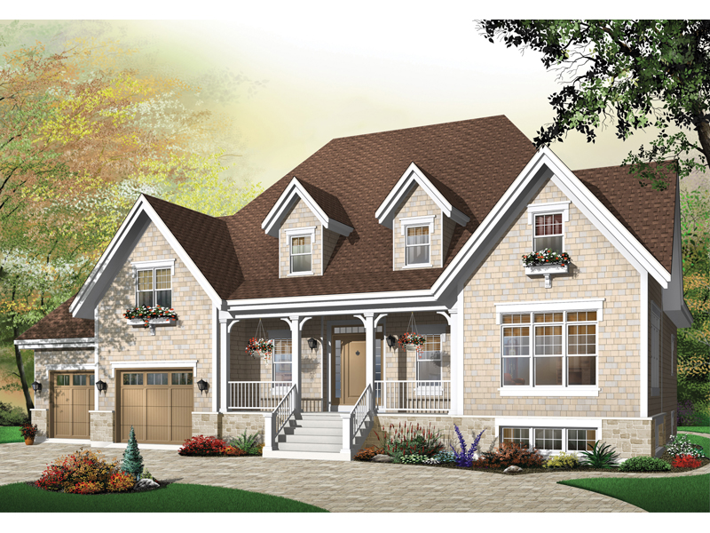Farmhouse Plan Front of Home - 032D-0446 | House Plans and More