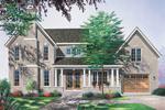Striking Brick European Home Features Columns On Front Porch