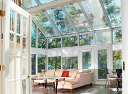 a sunny and open glass atrium
