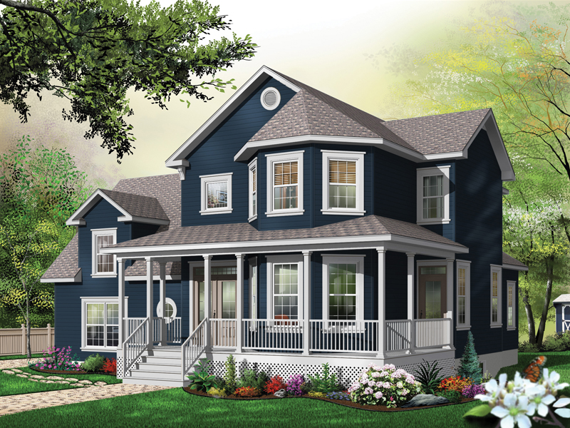 Graceton country home plan 032d 0486 house plans and more for House plans with bay windows