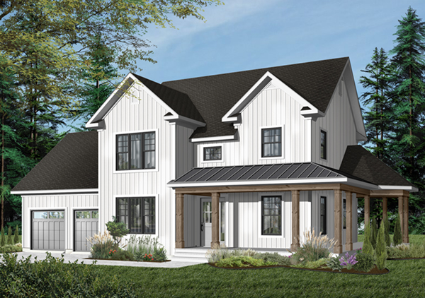 Derosa two story farmhouse plan 032d 0502 house plans for Two story house with wrap around porch