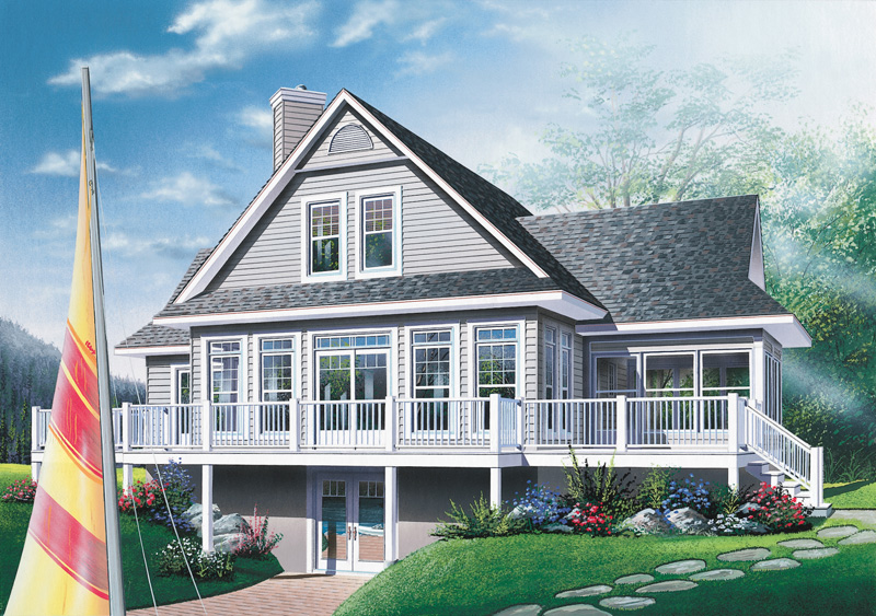 Quaker Lake Vacation Home Plan D    House Plans and MoreLake House Plan Front Image   D    House Plans and More