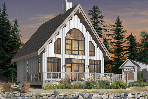 Beach lake a frame home plan 032d 0534 house plans and more for A frame lake house