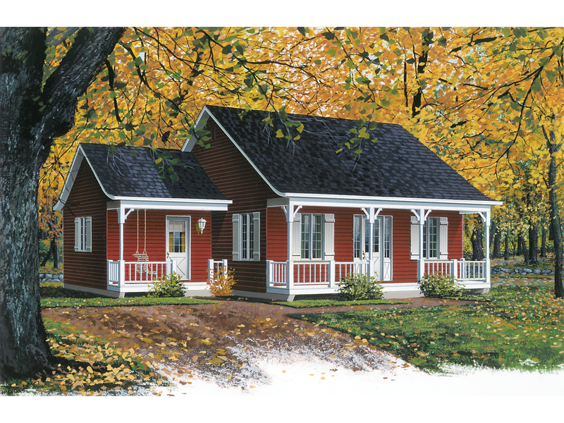 Country Cabin Style Has Casual Covered Porch And A Side Porch