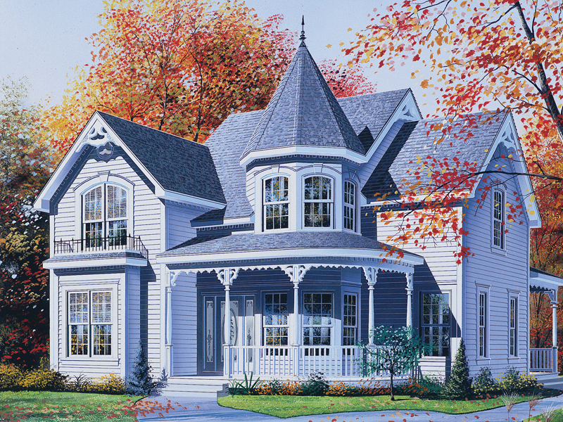 Palmerton victorian home plan 032d 0550 house plans and more for Home plans with turrets