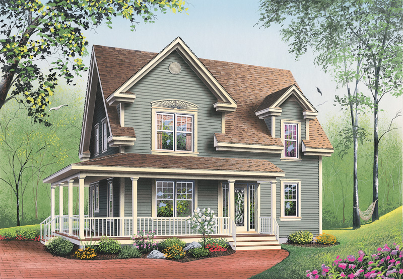 traditional house plan front image 032d 0552 house plans and more - Farmhouse Plans