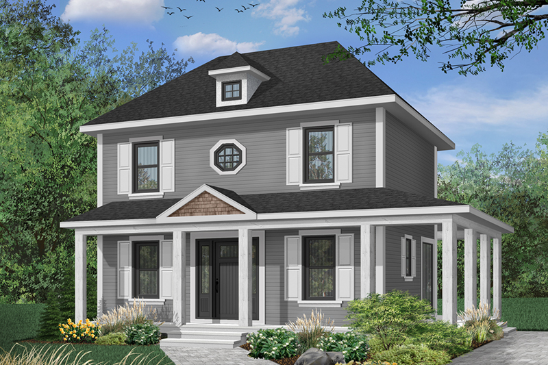 Farmhouse Plan Front of Home - 032D-0563 | House Plans and More