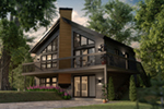 Rustic A-Frame House Has Center Chimney And Large Deck