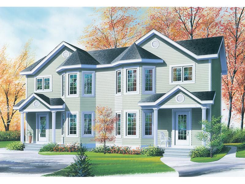 Budington place duplex home plan 032d 0592 house plans for House plans with bay windows