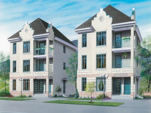 Dormount triplex design plan 032d 0608 house plans and more for Triplex house designs
