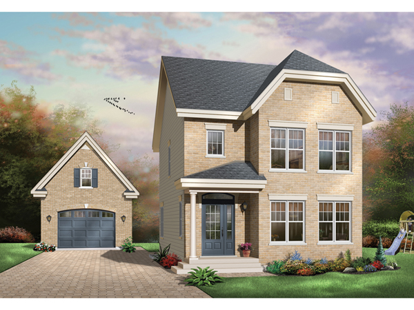 Shadehill Narrow Lot Home Plan D    House Plans and More