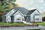 Stone Trim Outlines The Base Of This Ranch Style Home