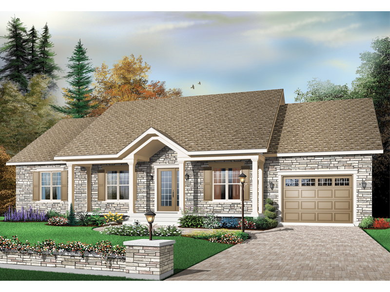 Ranch House Plan Front of Home - 032D-0664 | House Plans and More