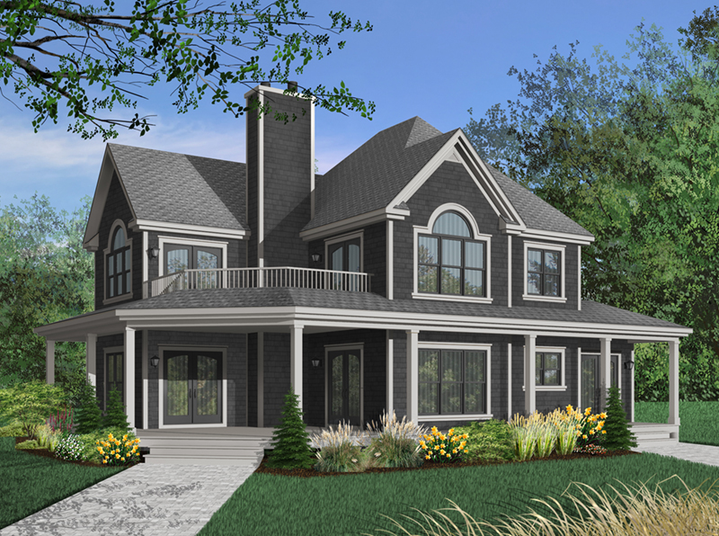 Inviting Farmhouse Has A Balcony Above The Wrap-Around Porch