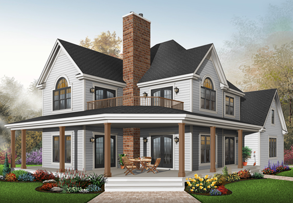 House plans and design house plans two story porches for Farmhouse plan with wrap around porch