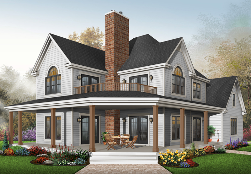 Two-Story Country Farmhouse Plan With Large Wrap-Around Porch