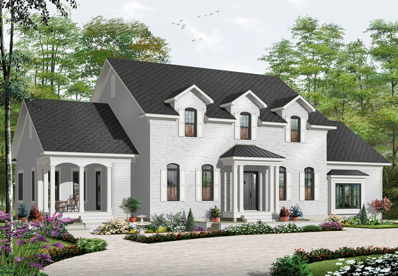 Early American House Plan Front of Home - 032D-0711 | House Plans and More