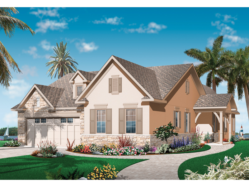 Waterfront Home Plan Front of Home - 032D-0739 | House Plans and More