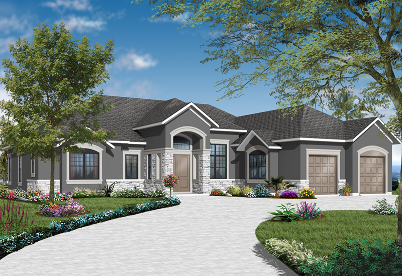 Ranch House Plan Front of Home - 032D-0740 | House Plans and More