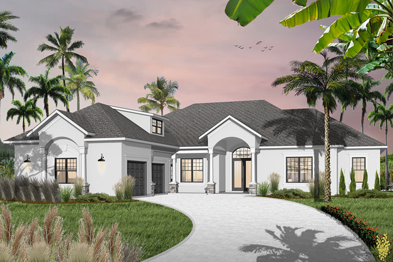 Florida House Plan Front of Home - 032D-0744 | House Plans and More