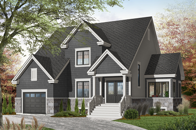 Craftsman House Plan Front of Home - 032D-0797 | House Plans and More