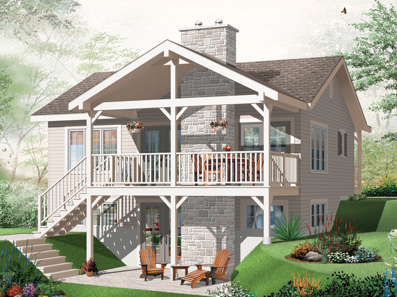 Waterfront Home Plan Color Image of House - 032D-0803 | House Plans and More