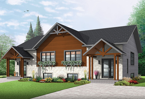 audrey creek craftsman duplex plan 032d 0819 house plans and more. Black Bedroom Furniture Sets. Home Design Ideas