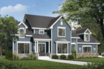 Symmetrical Traditional Home Has A Box-Bay Window And Dormers