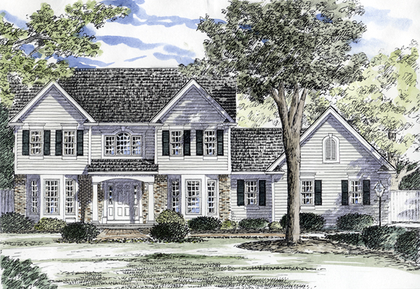 Dryden southern colonial home plan 034d 0048 house plans for Brick colonial house plans
