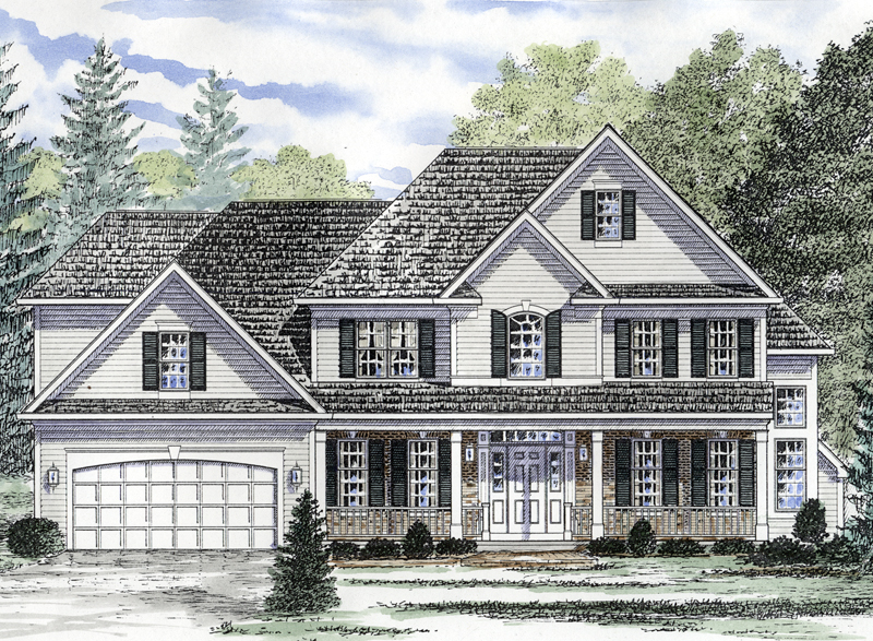 Front porch colonial house plans for Colonial house plans with porch