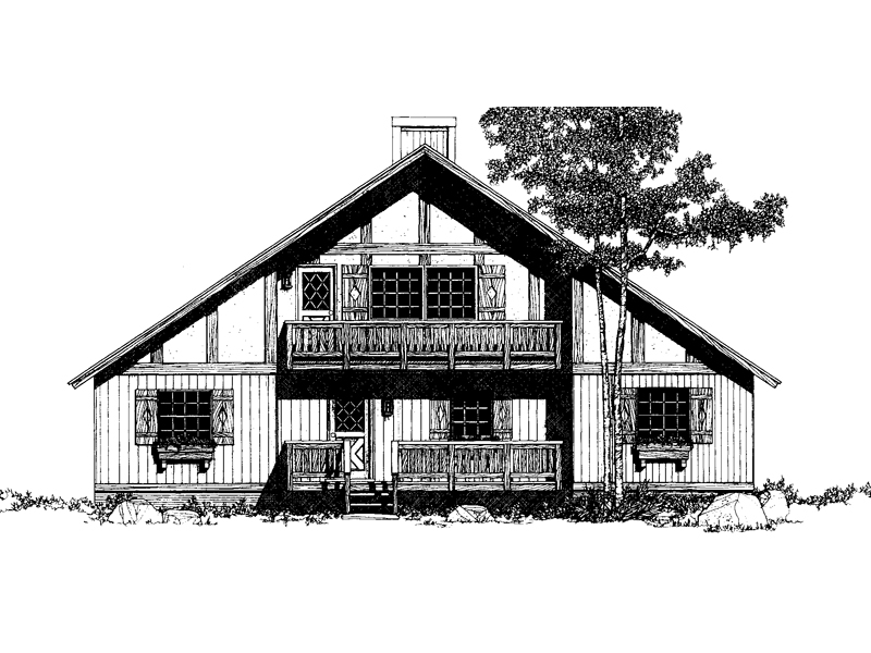 A-Frame House Plan Front of Home 036D-0045
