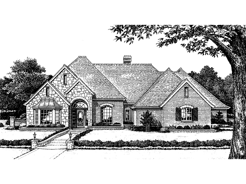 Country French Home Plan Front of Home 036D-0057