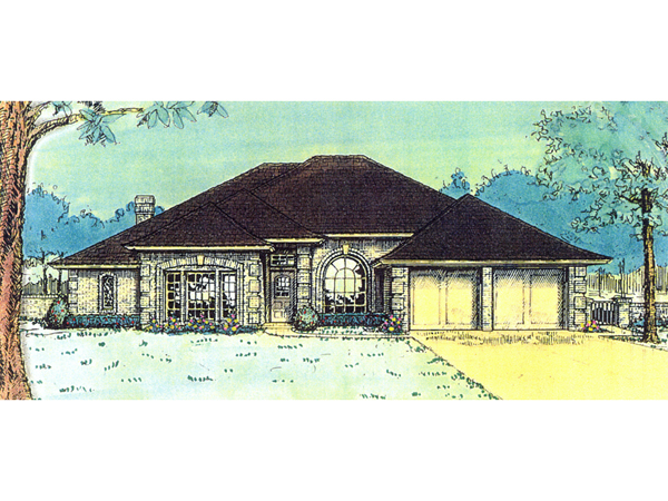 Lombardi european ranch home plan 036d 0061 house plans for Hip roof ranch house plans