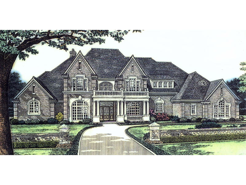 Country French Home Plan Front of Home 036D-0090