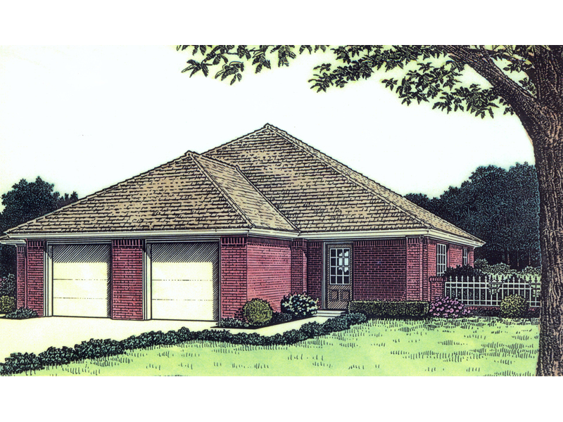 Ranch House Plan Front of Home 036D-0123