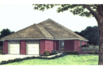 Simple Ranch Home Design With Double Garage Doors In The Front