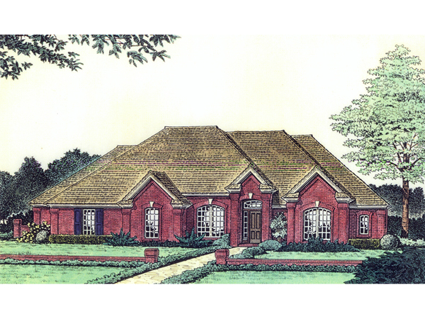 Flint hill country french home plan 036d 0124 house for Single roof line house plans