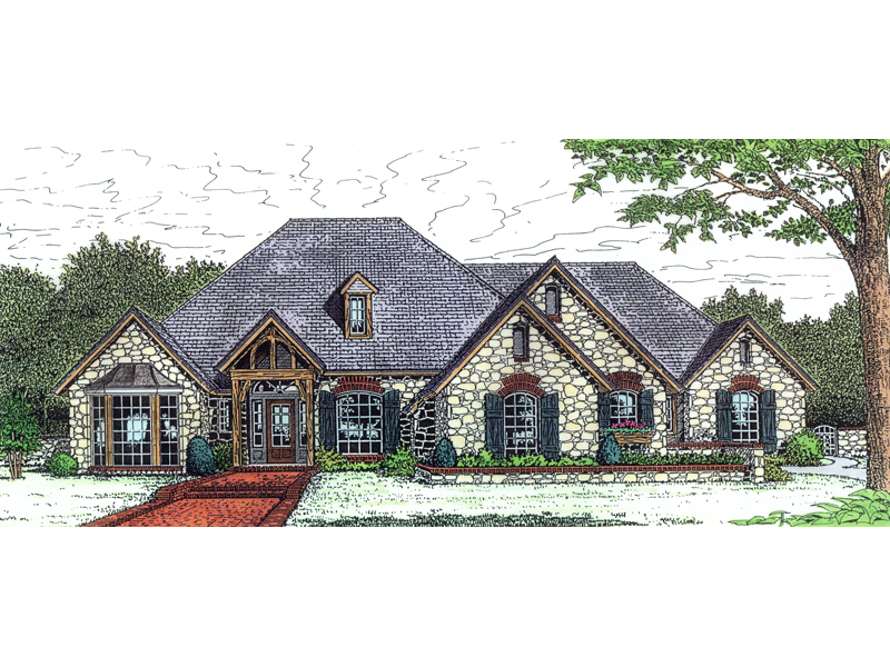Ranch House Plan Front of Home 036D-0180