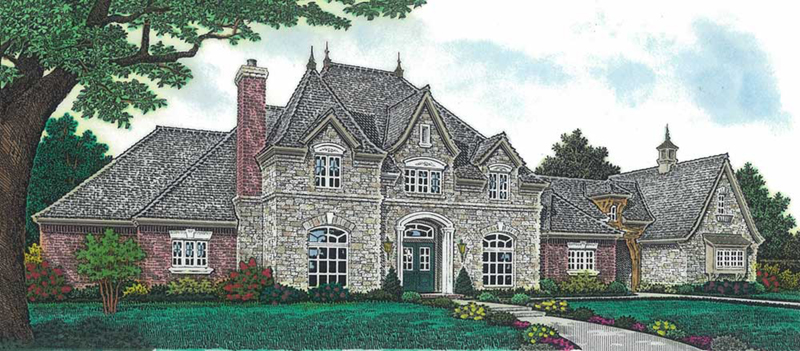 Country French House Plan Front of Home - Newstead Manor Luxury Home 036D-0203 | House Plans and More