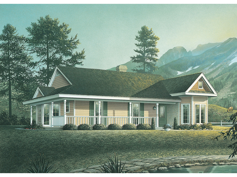 Ranch House Plan Front of Home 037D-0006