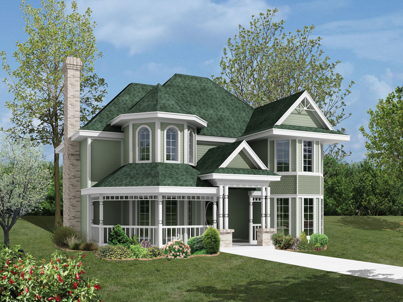 Victorian House Plan Front of Home 037D-0016